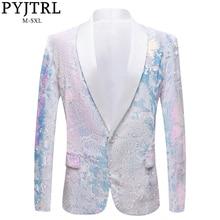 PYJTRL, новинка, мужские блейзеры из чистого белого бархата, фантазийный цвет, с блестками, для ночного клуба, певцов, свадьбы, жениха, выпускного, смокинг, приталенный пиджак