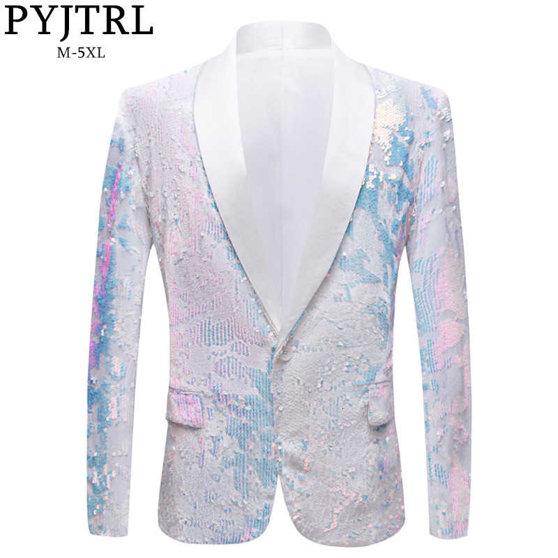PYJTRL New Men Pure White Velvet Fantasy Color Sequins Blazers Night Club Singers Wedding Groom Prom Tuxedo Slim Fit Suit Jacket