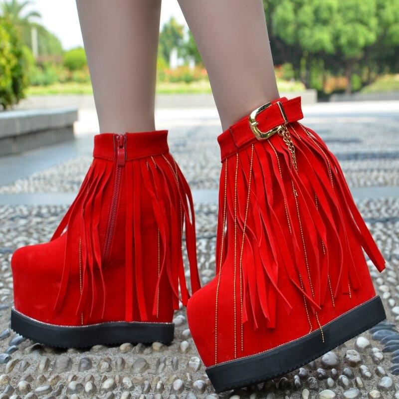 Короткие ботинки на очень высоком каблуке 15 см Женская обувь на рифленой подошве женские ботинки на танкетке с бахромой и толстой подошвой