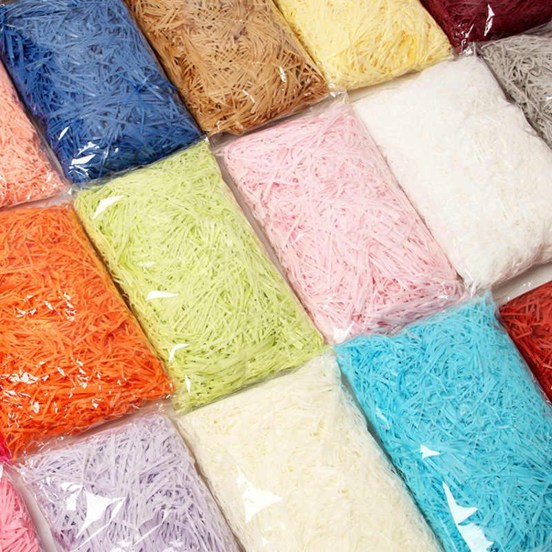 10g kolorowe rozdrobnione marszczone papier rafia pudełka na cukierki DIY pudełko materiał do wypełniania tkanki Party opakowanie na prezenty wypełniacz Decor