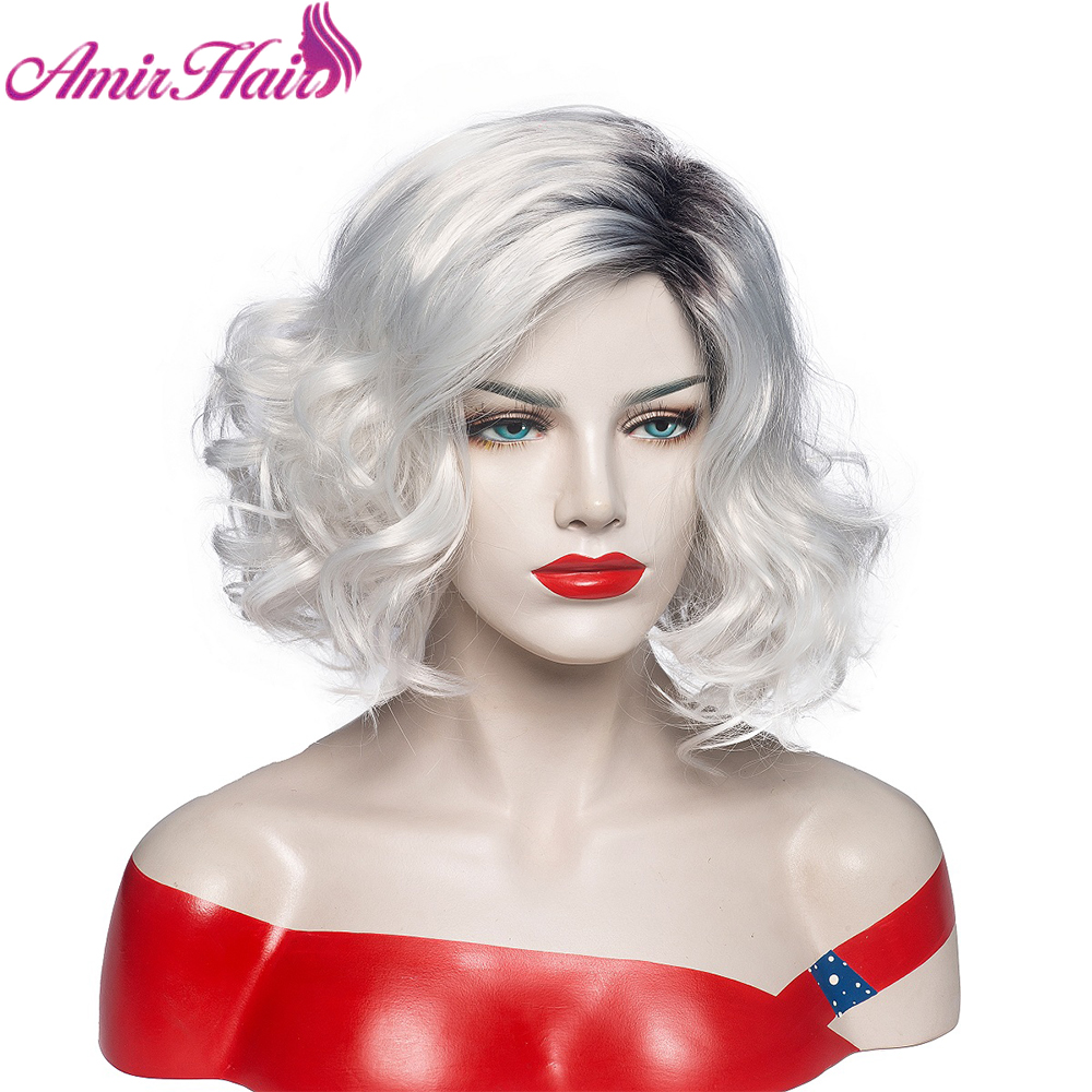 Amir Hair Short Wavy Synthetic Wigs Ombre Blonde Platinum Brown Afro Wig With Highlights Heat resistant for Women Black Cospaly