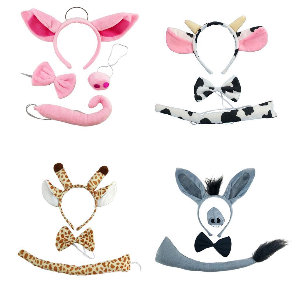 Halloween Animal Headwear Dairy Cow Giraffe Pig Headband + Bow Tie + Tail Animal Ear Headbands Adult Child Performance Props