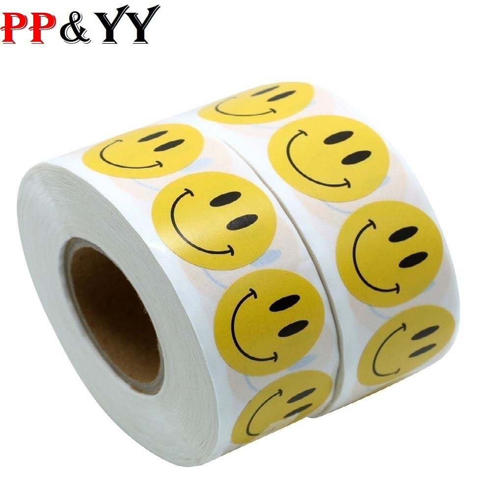 500 Labels Per Roll Cute Stickers Smiley Face Happy Stickers Seal Labels For Theacher And Student Office Sticker Stationery