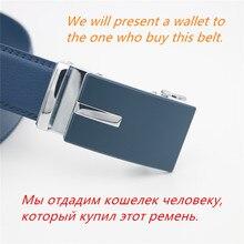الغربية الميمون حزام جلد طبيعي الرجال الأزرق حزام التلقائي الذكور أحزمة سوبر Cinturon Hombre
