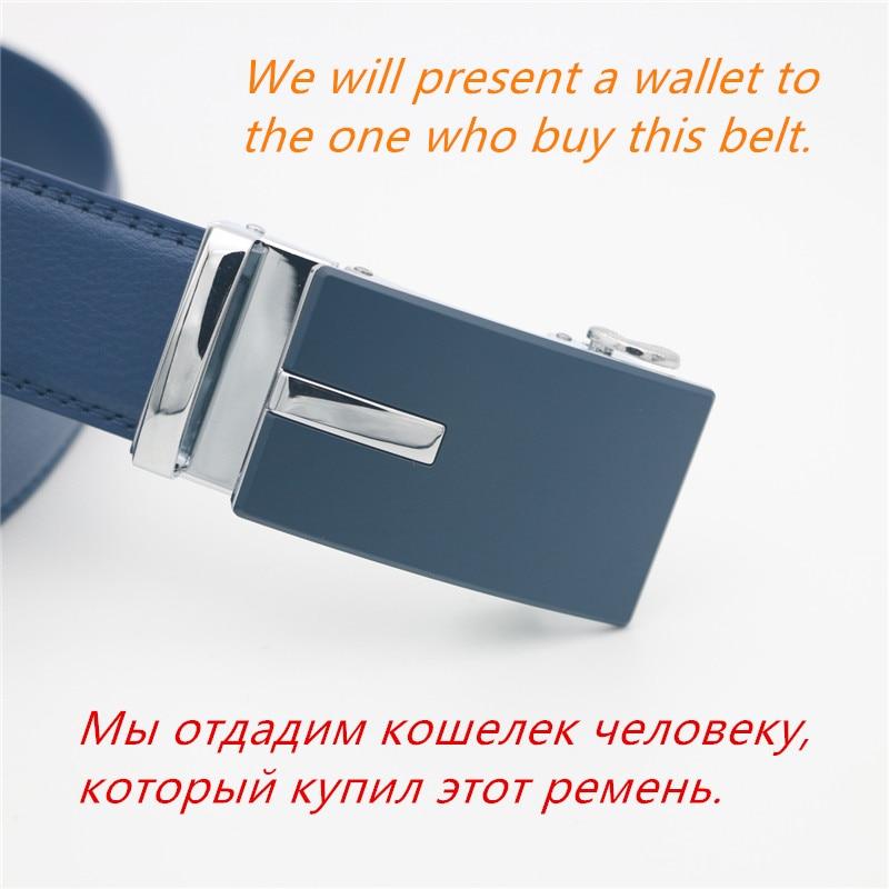 WESTERN AUSPICIOUS Genuine Leather Belt Men Blue Strap Automatic Male Belts Super Cinturon HombreMens Belts   -