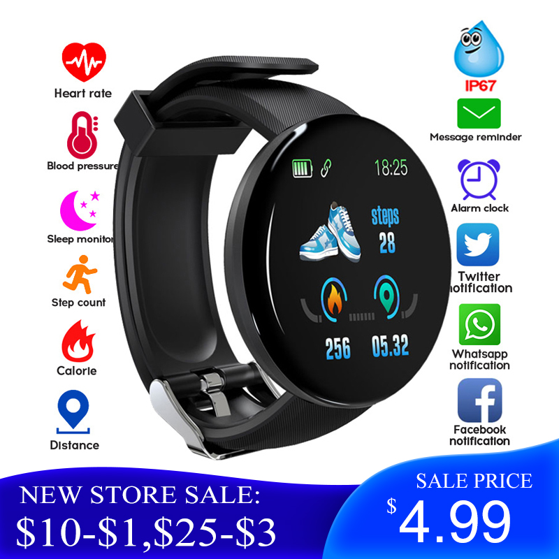 ONLY $4.99 D18 Bluetooth Smart Watch Men Blood Pressure Round Smartwatch Women Sport Tracker For Android Ios SW003