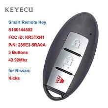 Keyecu s180144502 kr5txn1 keyless-go inteligente remoto chave fob 3 botões 433.92mhz 4a chip para nissan kicks 2018 2019 2020