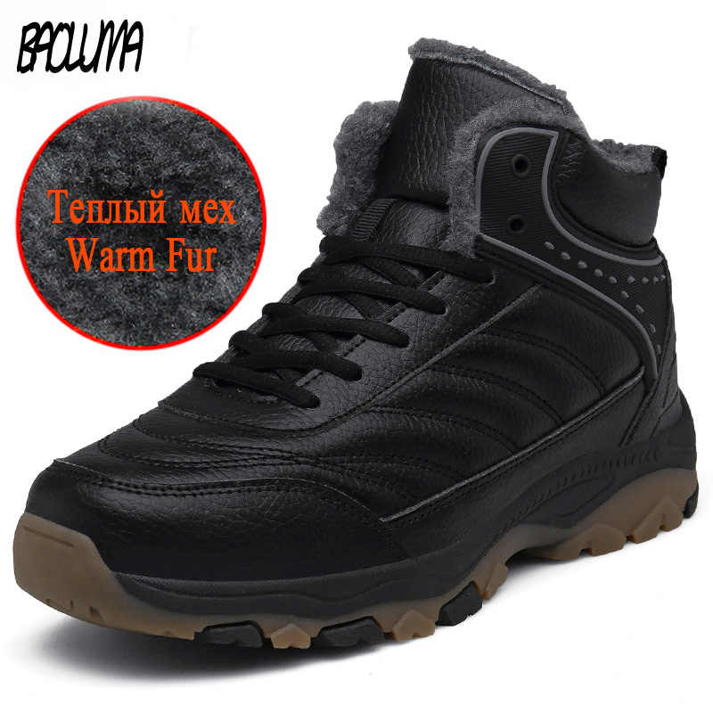 Классические мужские зимние ботильоны теплые мужские зимние ботинки из толстого плюша уличные мужские кожаные водонепроницаемые зимние ботинки рабочая обувь 39-48