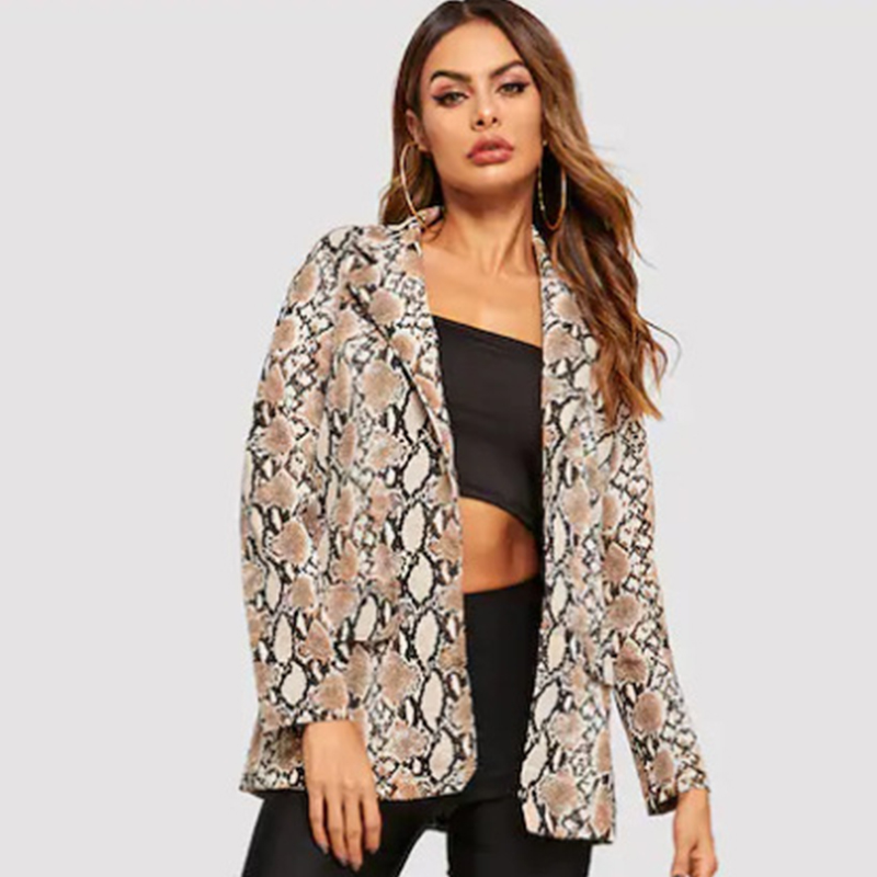 FMFSSOM Jacket Women Snake Print Long Sleeve Coat Office Lady Jacket Outwear Tops Women's Snake Print Women's Suit Top