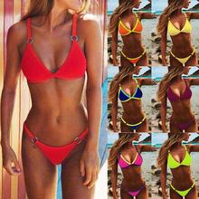 2020 seksowne stringi mikro Bikini kobiety stroje kąpielowe stałe Push up stroje kąpielowe kobiecy zestaw Bikini brazylijski strój kąpielowy Biquini tanie tanio CN (pochodzenie) Osób w wieku 18-35 lat W połowie pasa Drut bezpłatne m136106 WOMEN Poliester Elegancka moda swimsuit bikini