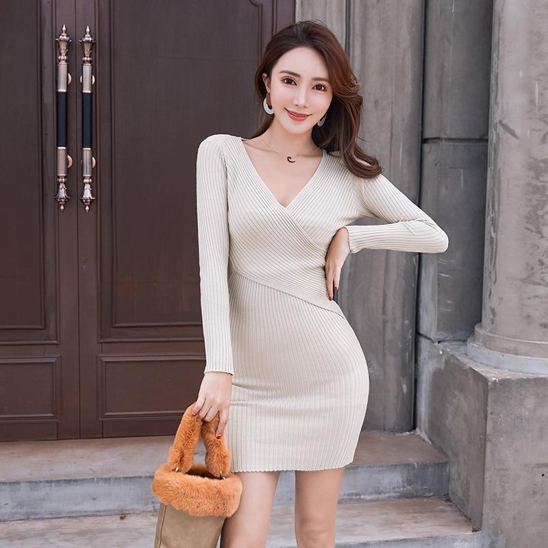 Spring Autumn Women Knitted Cotton Skinny Sweater Dress V-neck Slim Bodycon Mini Dress Elegant Sexy Party Vestidos Fit 45-70KG