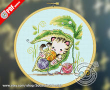 WY Top Quality Lovely Counted Cross Stitch Kit counted embroidery cross stitch SODA OP58 - Cats in Pea Pods(China)