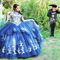 Vestido 15 anos Blue Quinceanera Dresses High Neck Lace Applique Sweet Sixteen Dress Tulle Long Sleeves Masquerade Gowns