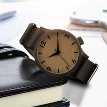 Fashion Style Wood Grain Leather Women Men Quartz Wrist Watch