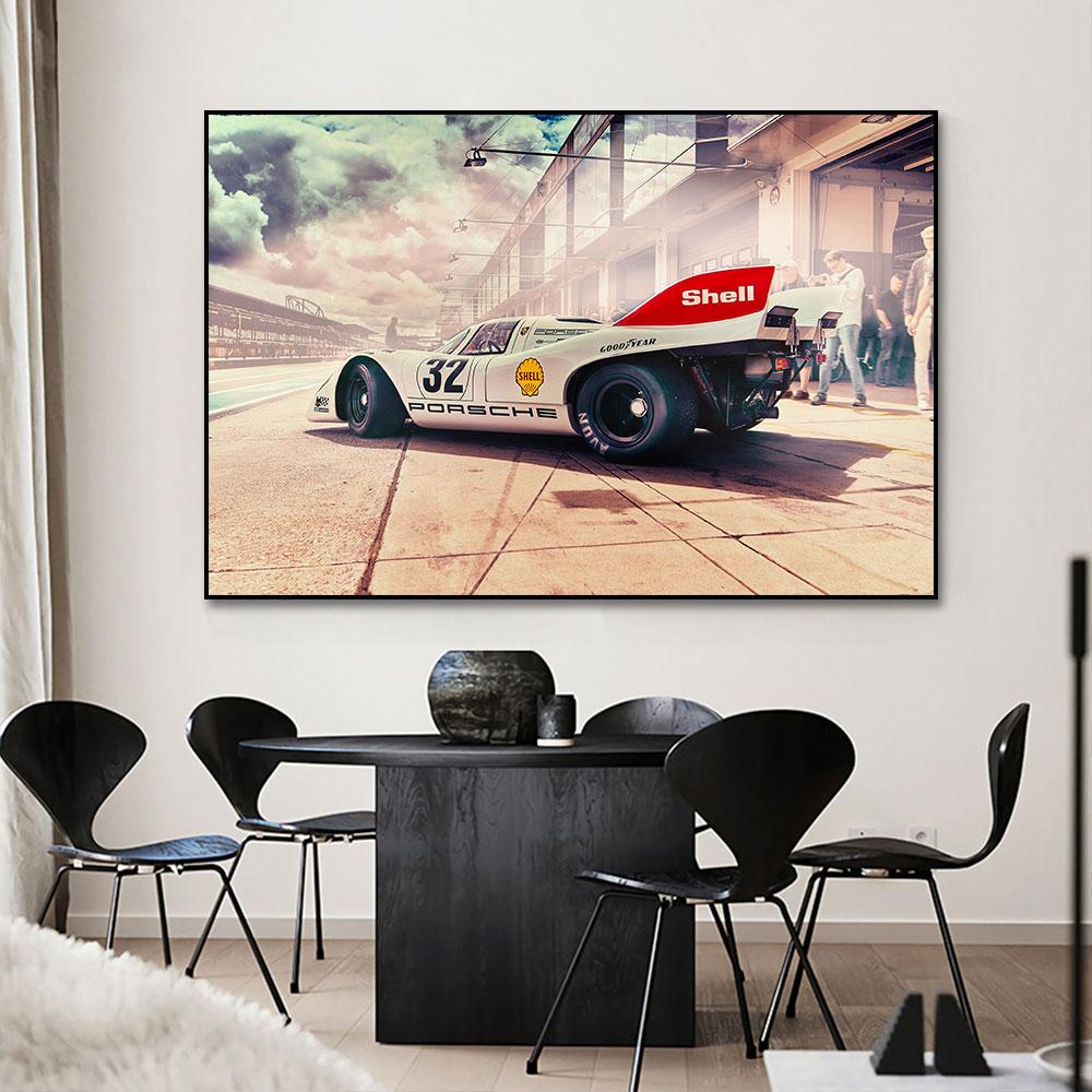 Póster de coche de carreras de 917K, Concha sobre lienzo, pintura impresa, arte de pared, imagen para salón, decoración para hogar sin marco