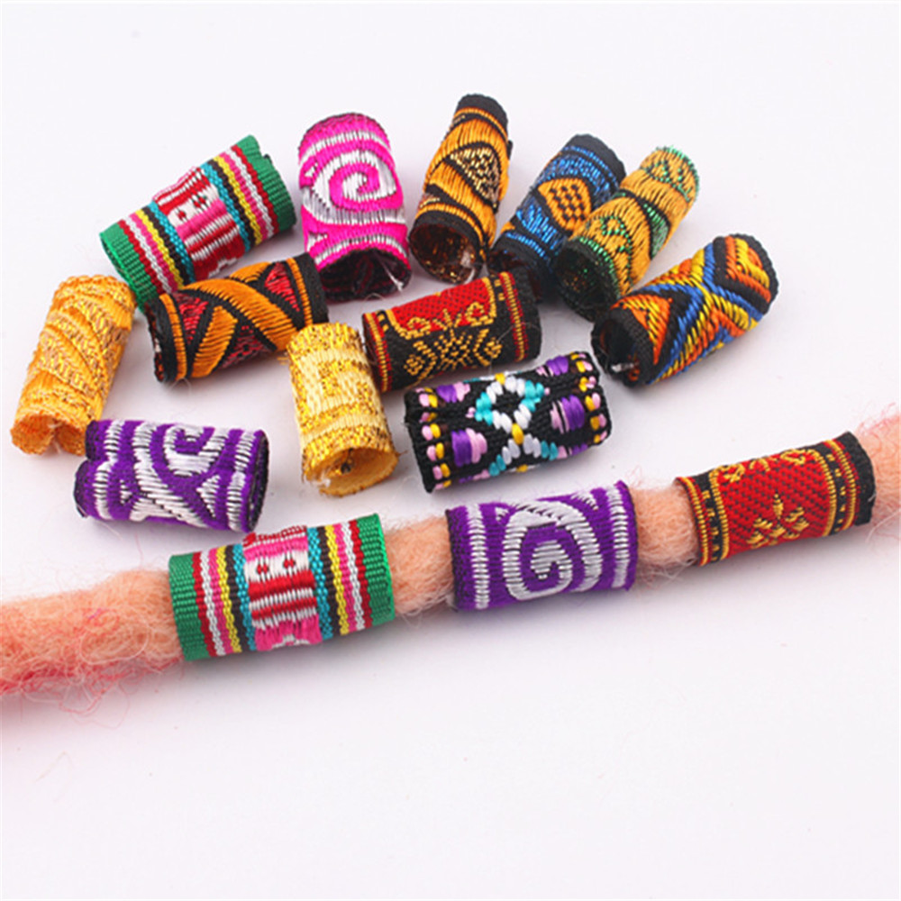 5pcs Colorful Mix Fabric Hair Braid Dread Dreadlock Beads Rings Tube Approx 5-7mm Hole Size