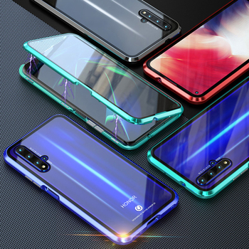 Double sided Magnetic 360 Protect Case For Honor 20 pro 20i 10 lite Tempered Glass Metal Cover For honor 30 30s 8x 9x cover