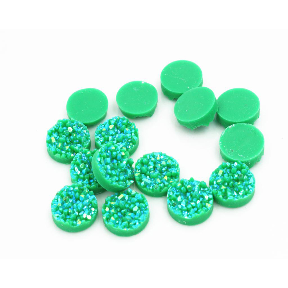 New Fashion 40pcs 12mm Green AB Colors Natural Ore Style Flat Back Resin Cabochons For Bracelet Earrings Accessories-V4-10