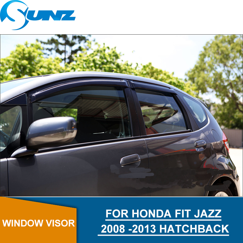Car door visor For HONDA FIT JAZZ 2008-2013 Black Window protector  2008 -2013 HATCHBACK SUNZ