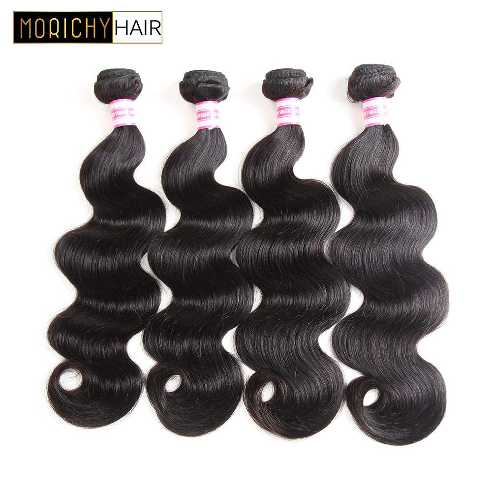 MORICHY Indian Hair Body Wave 4 Bundles Human Hair Weave Bundles Non-Remy Weft Natural Hair Extensions 4tissage Cheveux Humain