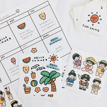 Ins Cartoon Island Life PVC Stickers Seal Sticker High Quality Hand Account Decoration Wall Stickers Campus Stationery Gift цена 2017