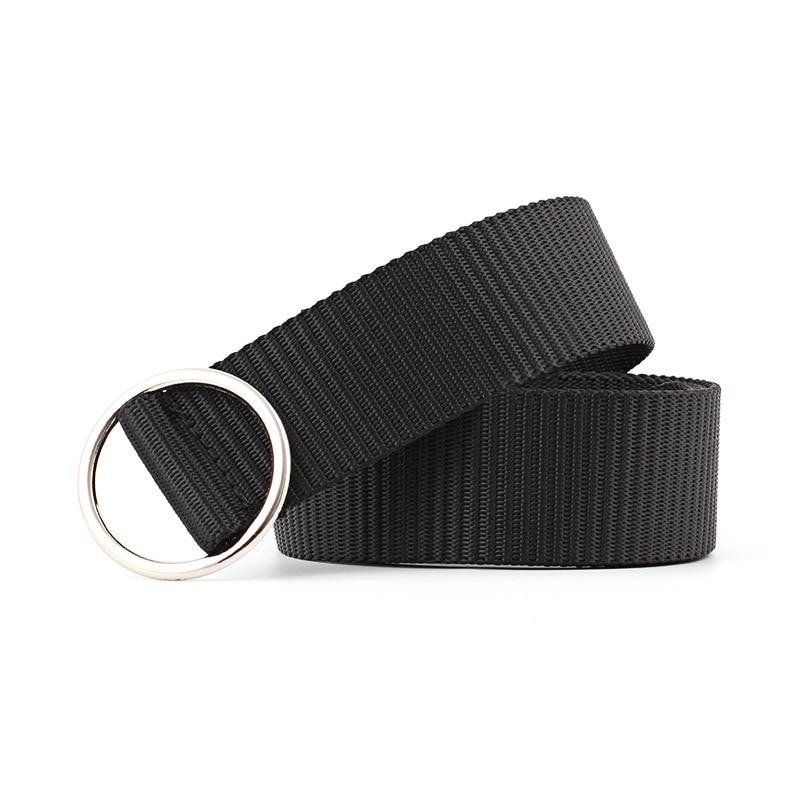 New Canvas Smooth Round Buckle Belts Unisex Belt Harajuku Fashion Black Gray For Men Women Pants Jeans Ceinture