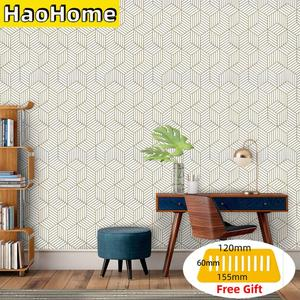 HaoHome Hexagon Contact Paper Removable Peel and Stick Wallpaper Self Adhesive Film For Living Room Bedroom Wall Decor