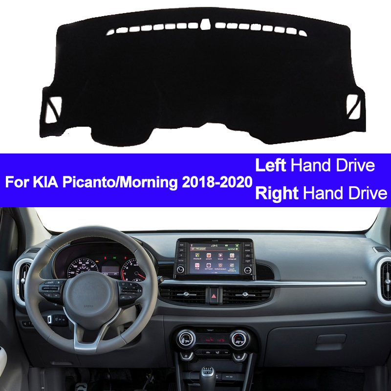 Car Auto Inner Dashboard Cover Dash Mat Carpet Rug For KIA Picanto Morning 2018 2019 2020 LHD RHD 2 Layers Sunshade Auto Cape