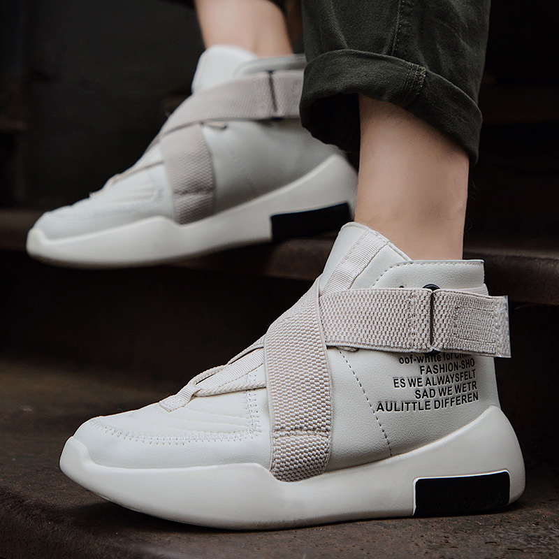 Tide quality men's shoes high to help 2019 new personality set foot  tide shoes casual leather boots four seasons