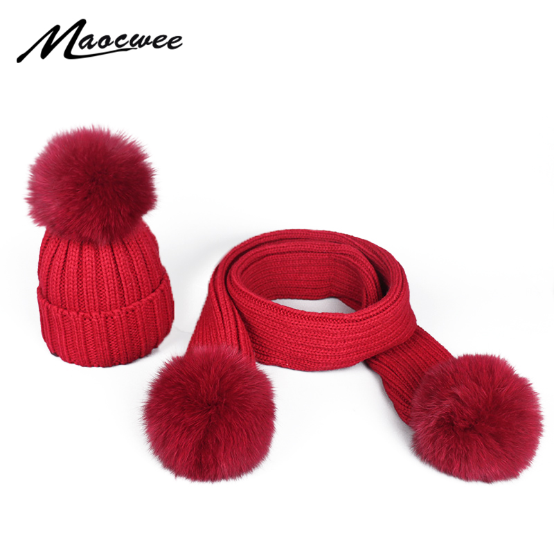 Scarf Hat Set Winter Warm Real Fox Fur Ball Fur Women Beanies Hats Knitted PomPon Caps With Pure Colour Female High Quality
