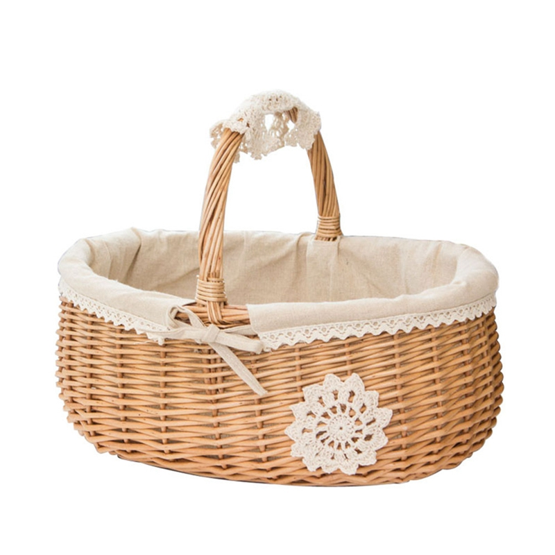 Wicker Basket Rattan Storage Basket Box Picnic Basket Fruit Flower Baskets With Lid And Handle And White Liner For Camping #Co
