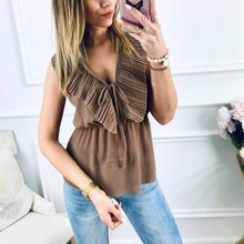 2019 Fashion Summer Women Blouse Sexy V Neck Sleeveless Chiffon Casual Solid Ruffles Lace Up Tops