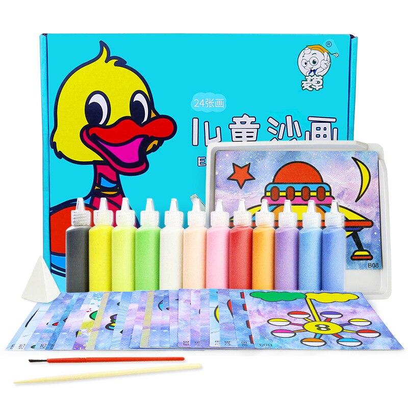 12 цветов бутылка песок с 24 шт песок художественная бумага детский сад художественные игрушки/дети мультфильм картина из песка для детей рисунок