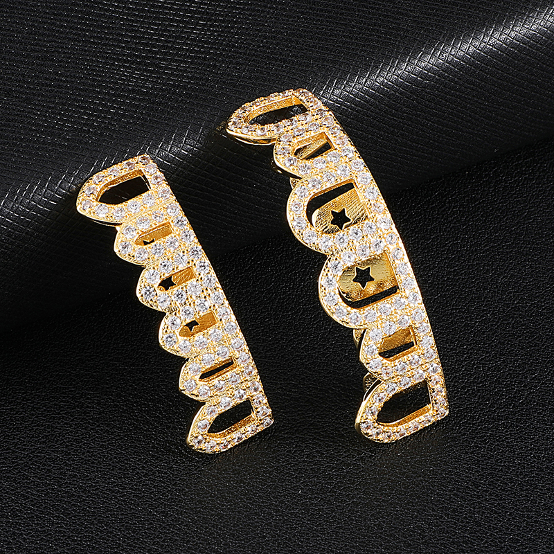 D&Z Top&Bottom Grillz Set Teeth Caps For Men Gold Color Fashion Jewelry Hip Hop Party Accessories
