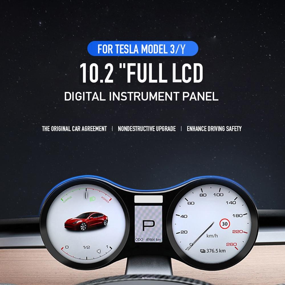 LCD Digital Cluster Instrument Panel For Tesla Model 3 Y Accessories Modification Car Displayer Screen Speedometer Dashboard HUD