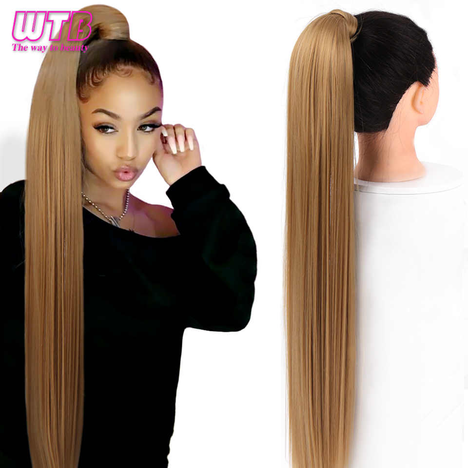 Wtb Wrap Synthetische Paardenstaart Hair Extension Super Lange Rechte Vrouwen Clip In Hair Extensions Paardenstaart False Haar 32 inch