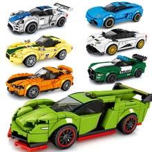 Esportes racer carro polícia velocidade campeões moc super blocos de construção diy modelo criança tijolos brinquedo técnica cidade ótimo veículo 2021novo
