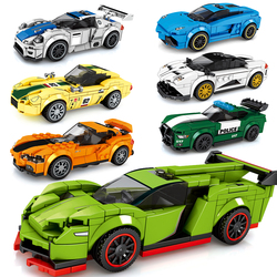 Sports Racer Car Police Speed Champions Moc Super Building Blocks DIY Model Child Bricks Toy Technic City Great Vehicle 2021New