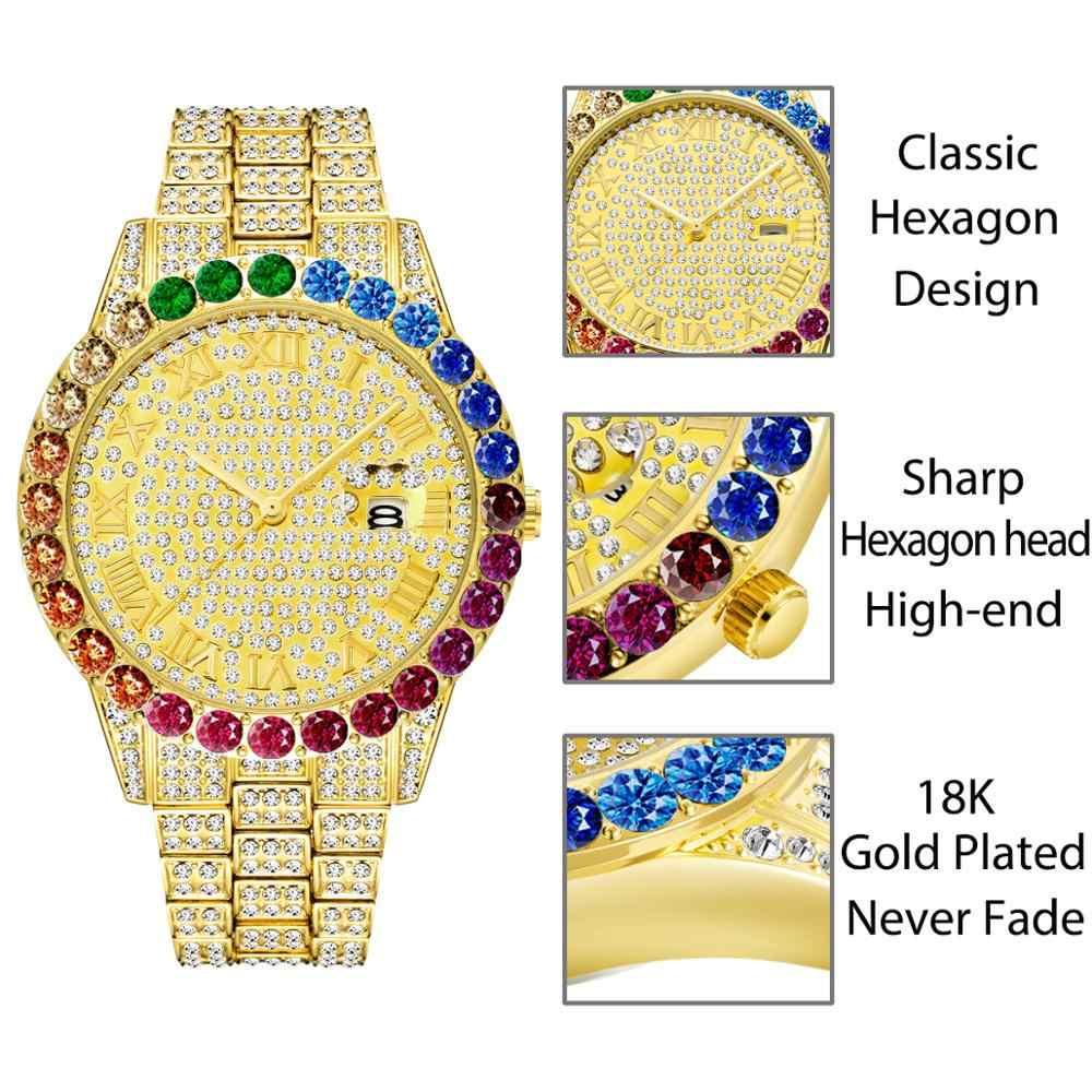 ใหม่ร้อนMISSFOX Big Rainbow Diamond Luxury Mensนาฬิกาข้อมือสุดหรู 18K Goldนาฬิกาผู้ชายหรูหราIced OUTนาฬิกาข้อมือควอตซ์