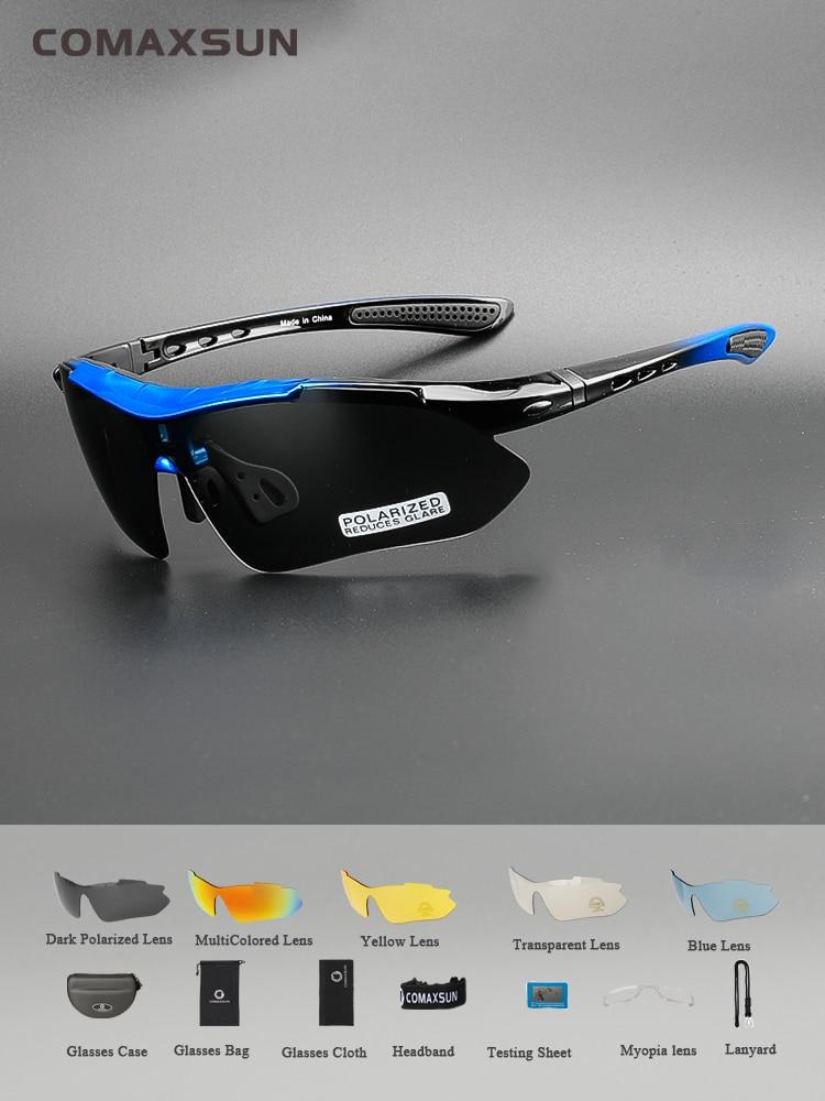 Polarized Cycling Glasses Bike-Goggles Professional COMAXSUN Outdoor Sports 5-Lens TR90