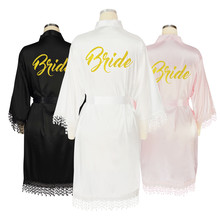 цена на Black Lace Trim Robe Kimono Satin Bridesmaid Long Sexy Lingerie Dressing Gown Bridal Robes With Lace