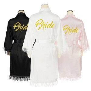 Dentelle noire garniture Robe Kimono Satin demoiselle d'honneur longue Sexy Lingerie Robe de chambre Robes de mariée avec dentelle