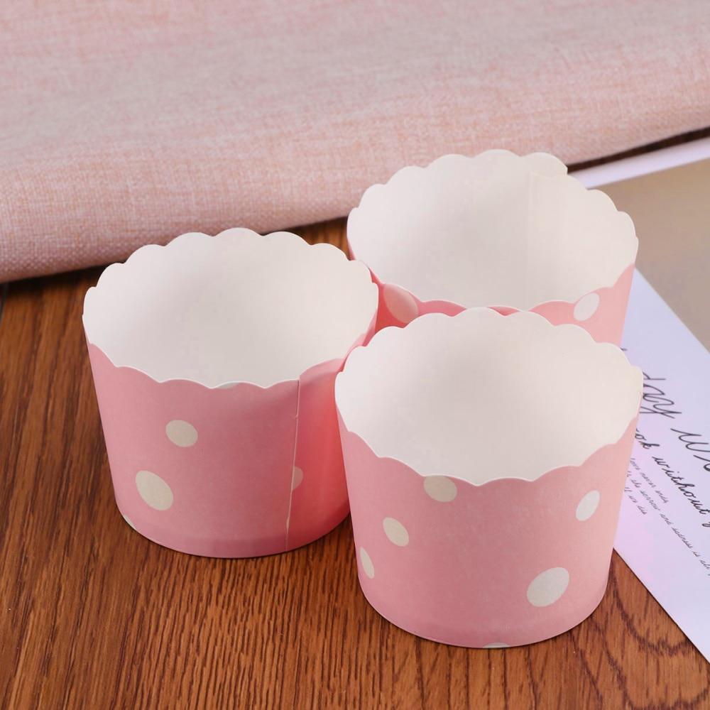 50 шт. для края торта, обертки, креативные бумажные чашки для выпечки кексов, подкладка для торта для свадебной вечеринки (Размер M, розовые то...