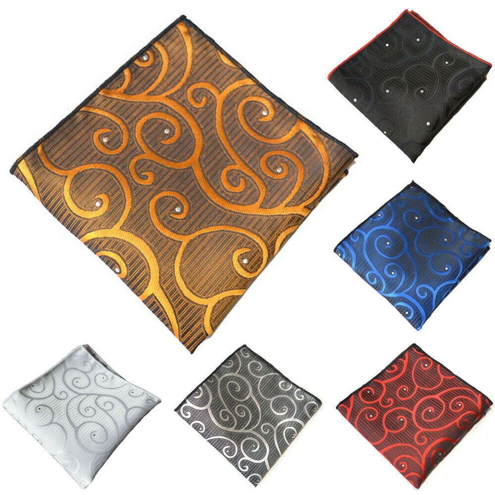 6 PCS Men Handkerchief Stylish Printed Pocket Square Business Wedding Hanky YXTIE0332A