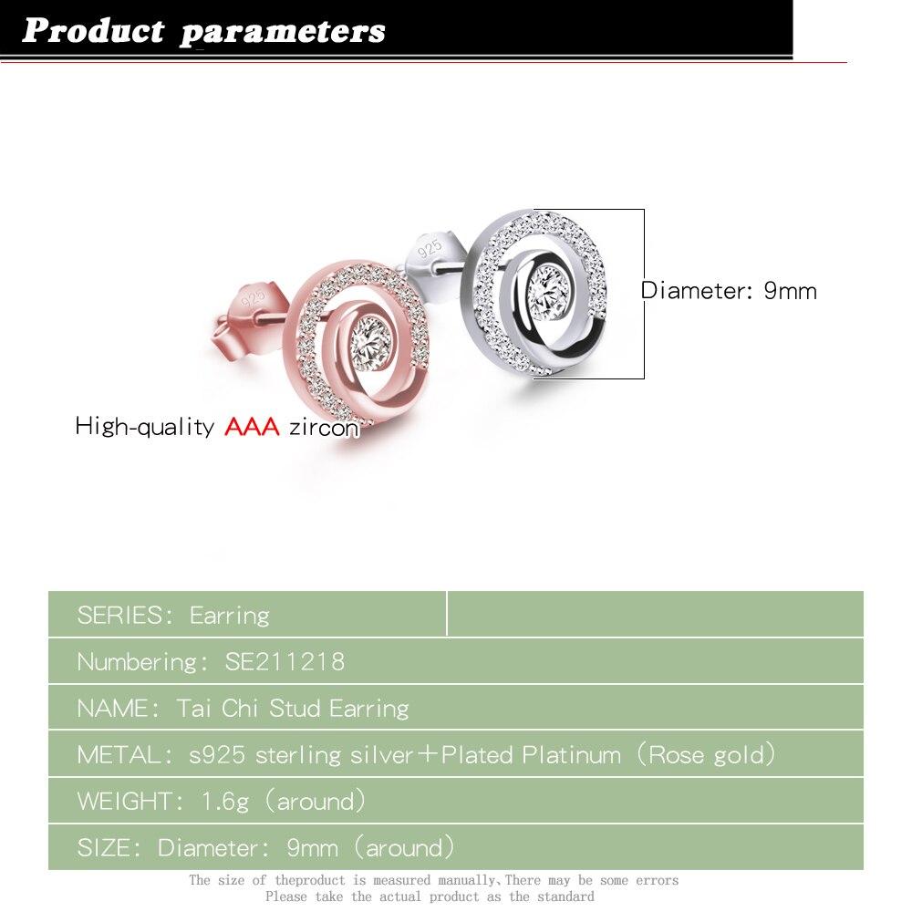 Minimalist women's 100% original 925 sterling silver earrings AAAAA cubic zircon round earrings rose gold earrings fine jewelry