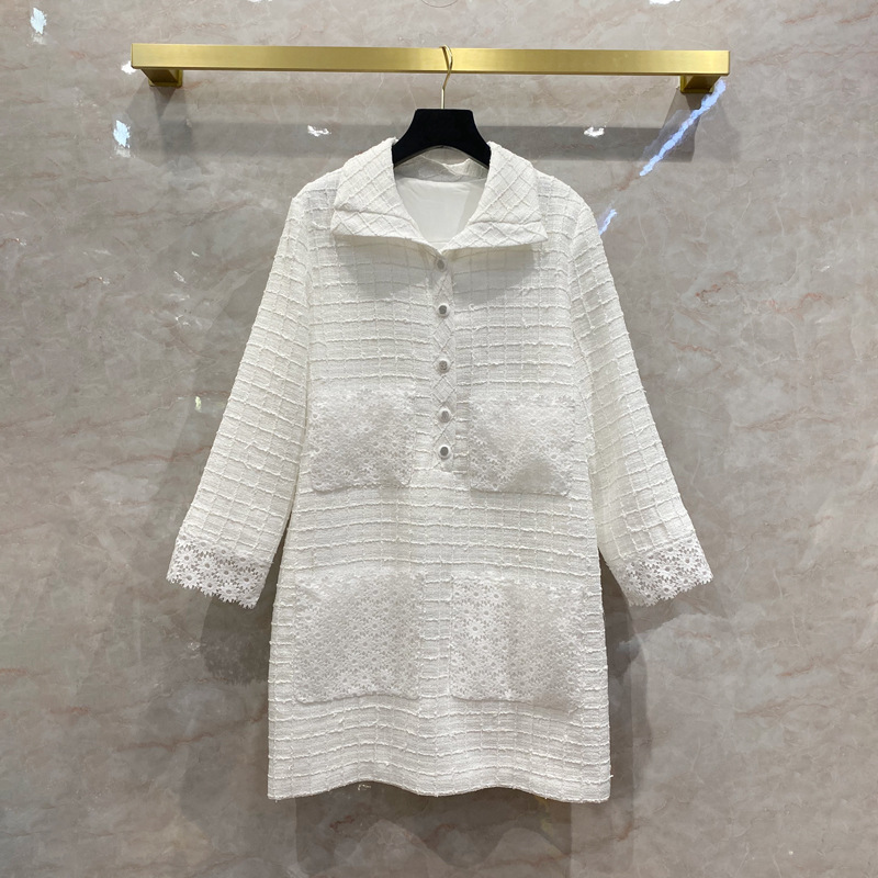 2021 brand designer women lace patchwork white tweed mini dresses turn down collar long sleeve pockets buttons loose dress S172