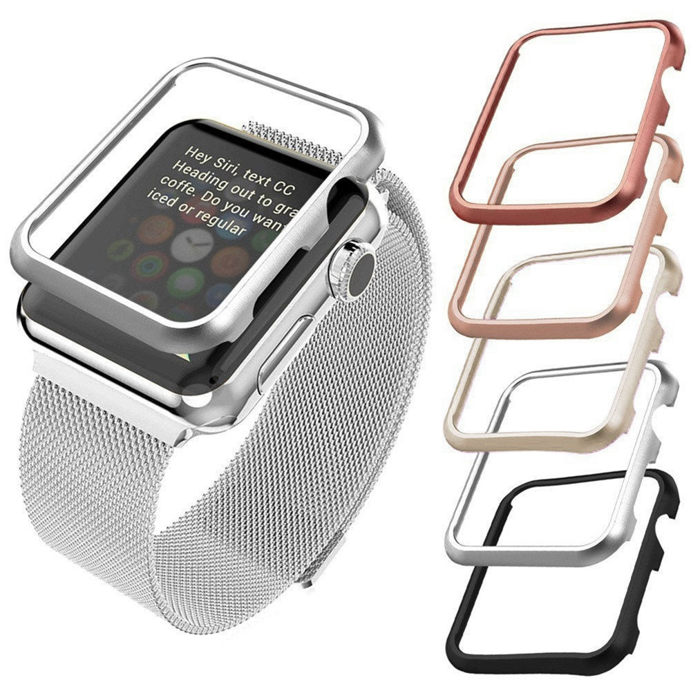 Metal Alloy hard shell Protector cover for apple <font><b>watch</b></font> <font><b>case</b></font> serie 3 2 1 for iwatch 38/<font><b>42mm</b></font> Anti-fall metal frame protective <font><b>Case</b></font> image