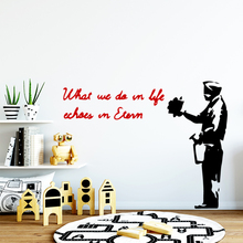 Fashion Phrase Banksy Wall Art Decal Wall Sticker For Kids Room Decor Mural Pvc Wall Decals Wallpaper Mural new tom cat jerry mouse wall art decal pvc material stickers wall decals for kids room vinyl wall sticker mural wallpaper