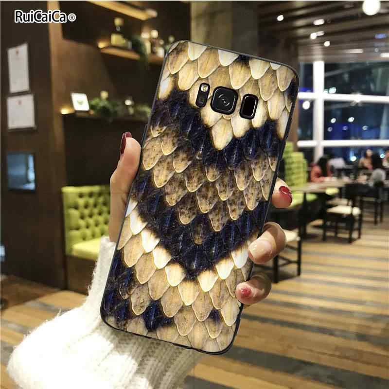RuiCaiCa Snake skin Customer High Quality Phone Case For galaxy s5 s6 edge plus s7edge s8 plus s9 plus s10 plus s10E Cover