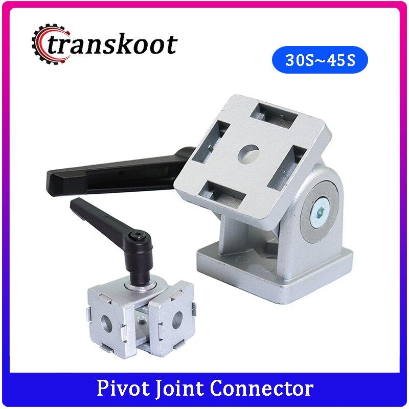 Die Cast Zinc Alloy Flexible Pivot Joint Connector With Handle Corner Hinge For Aluminum Extrusion Profile 30/40/45s